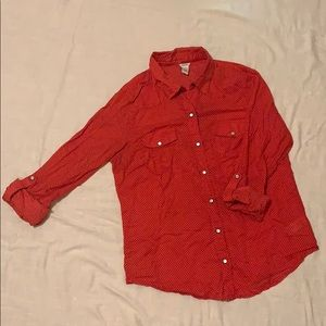 Red polka dotted button down from Forever 21